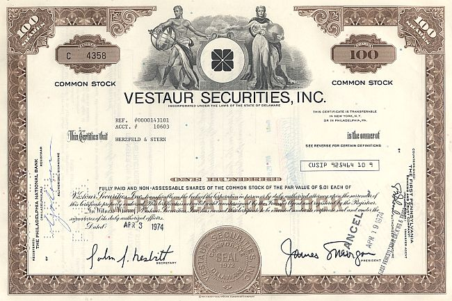 Vestaur Securities, Inc. historic stocks - old certificates