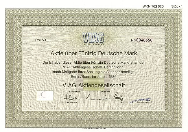 Viag Aktiengesellschaft historic stocks - old certificates