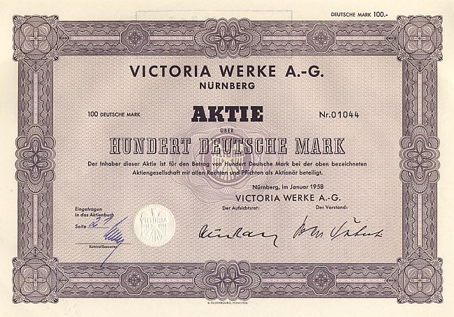 Victoria Werke A.-G. historic stocks - old certificates