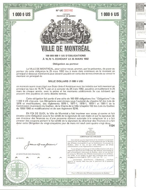 Ville de Montreal historic stocks - old certificates