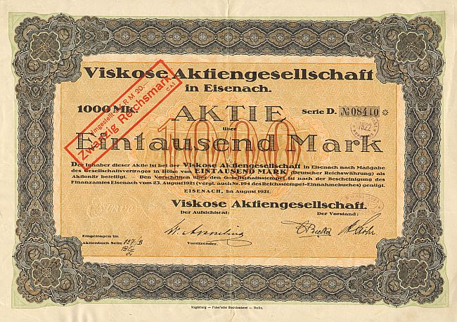 Viskose Aktiengesellschaft (August 1921)  historic stocks - old certificates