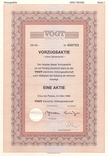 Vogt Electronic historic stocks - old certificates