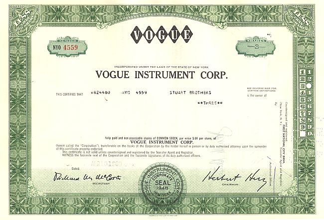Vogue Instrument Corporation historische Wertpapiere - alte Aktien