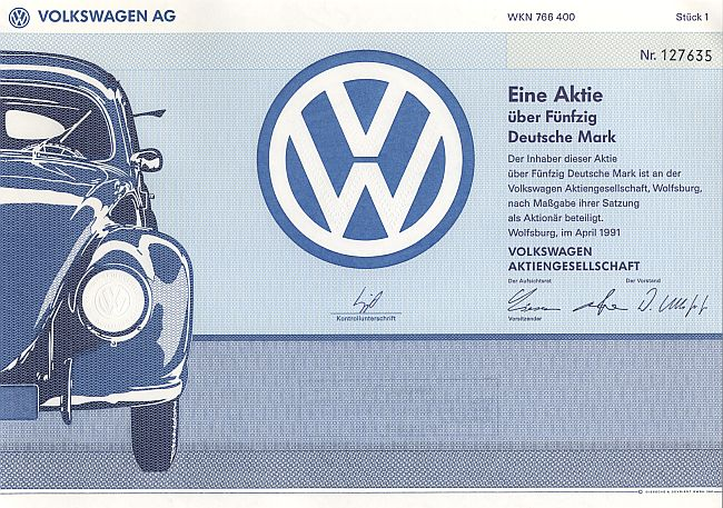 Volkswagen AG 50.-DM historic stocks - old certificates