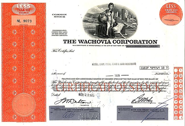 Wachovia Corporation historic stocks - old certificates