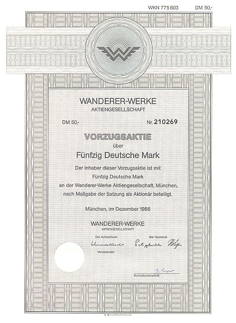 Wanderer Werke Aktiengesellschaft historic stocks - old certificates