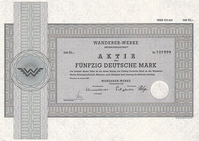 Wanderer-Werke historic stocks - old certificates