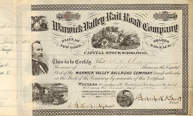 Warwick Valley Rail Road Company  historic stocks - old certificates