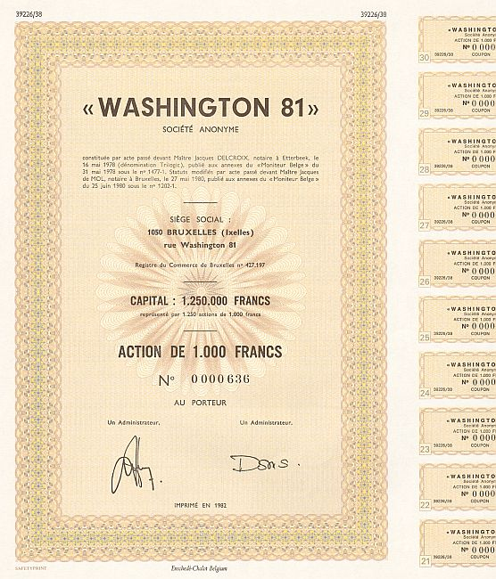 Washington 81 historic stocks - old certificates