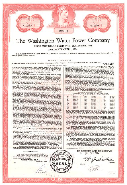 Washington Water Power Company historic stocks - old certificates