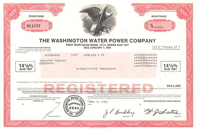 Washington Water Power Company historische Wertpapiere - alte Aktien