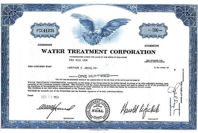 Water Treatment Corporation (Rahmen gerade) historic stocks - old certificates