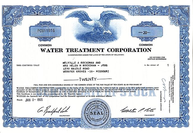 Water Treatment Corporation historic stocks - old certificates
