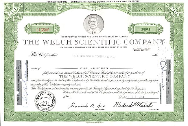 Welch Scientific Company historic stocks - old certificates