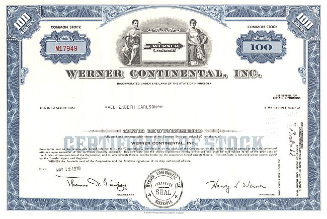 Werner Continental Inc. historic stocks - old certificates