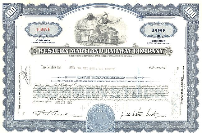 Western Maryland Railway Company historic stocks - old certificates