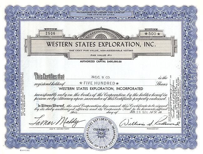 Western States Exploration, Inc. historic stocks - old certificates