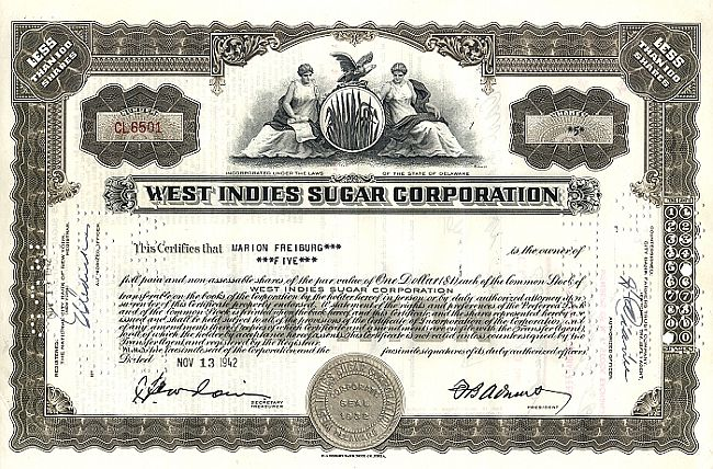West Indies Sugar Corporation historic stocks - old certificates