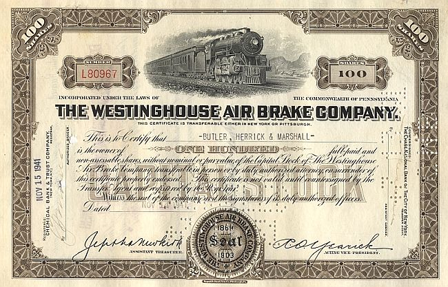 Westinghouse Air Brake Company historic stocks - old certificates