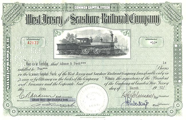 West Jersey and Seashore Railroad Company historic stocks - old certificates