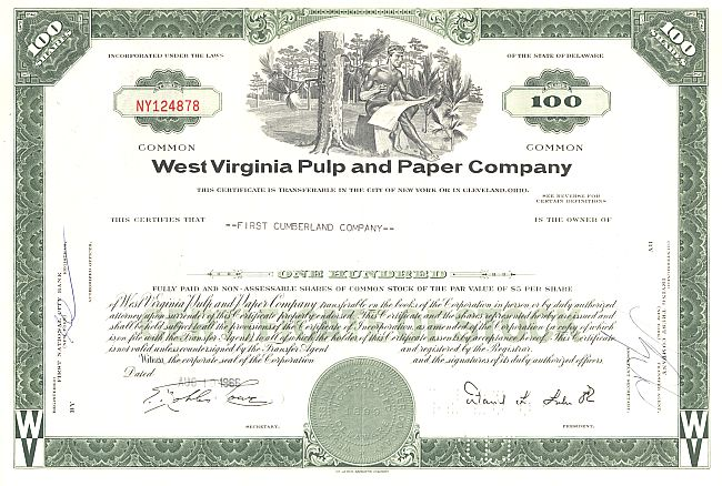 West Virginia Pulp and Paper Company historic stocks - old certificates