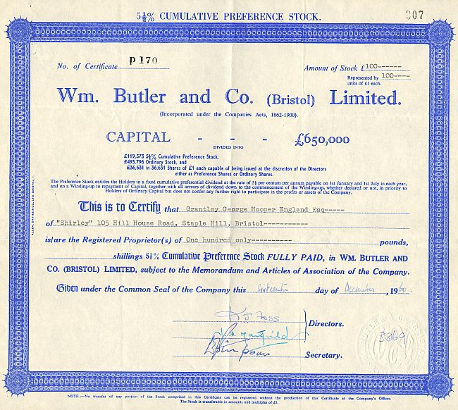 Wm. Butler and Co. (Bristol) Limited historic stocks - old certificates