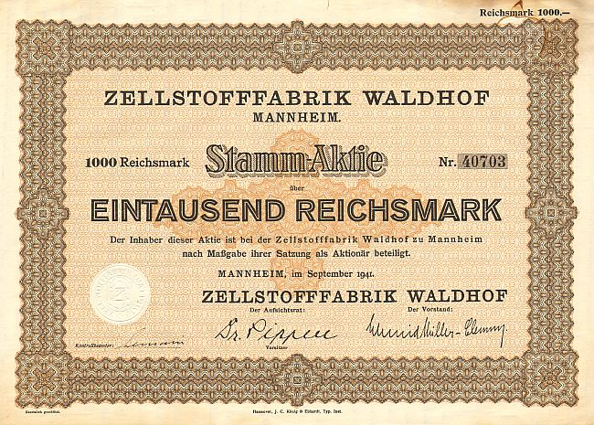 Zellstofffabrik Waldhof  historic stocks - old certificates