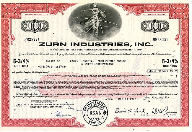 Zurn Industries Inc. historic stocks - old certificates