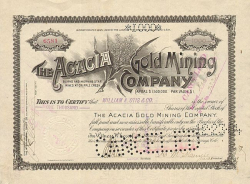 Acacia Gold Mining Company -  historic stocks - old certificates Mining