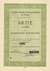A. Glaser Nachfl. Aktiengesellschaft in Penig -  historic stocks - old certificates Textile Industry