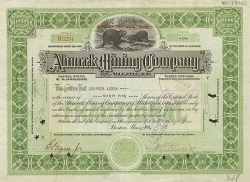 Ahmeek Mining Company of Michigan -  historic stocks - old certificates Mining