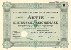 Aktienbrauerei Kaufbeuren in Kaufbeuren -  historic stocks - old certificates Brewery