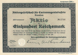 Aktiengesellschaft für Cartonnagenindustrie (1938) historic stocks - old certificates