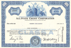 All-State Credit Corporation -  historic stocks - old certificates Banks and Insurance