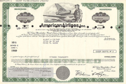 American Airlines Inc.  historic stocks - old certificates