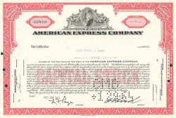 American Express Company -  historic stocks - old certificates Banks and Insurance