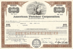 American Fletcher Corporation  historic stocks - old certificates