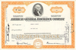 American General Insurance Company  historic stocks - old certificates