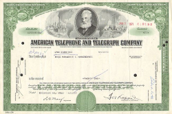 American Telephone and Telegraph Company (AT&T)  historic stocks - old certificates
