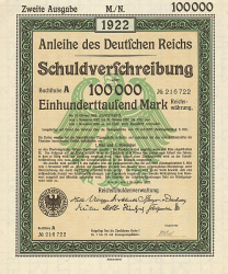 Anleihe des deutschen Reichs (100000 Mark) -  historic stocks - old certificates Cities and States