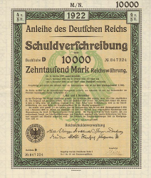 Anleihe des deutschen Reichs (10000 Mark) -  historic stocks - old certificates Cities and States