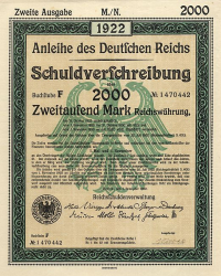 Anleihe des deutschen Reichs (2000 Mark) -  historic stocks - old certificates Cities and States