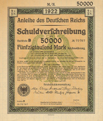 Anleihe des deutschen Reichs (50000 Mark) -  historic stocks - old certificates Cities and States