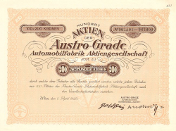 Austro-Grade Automobilfabrik Aktiengesellschaft -  historic stocks - old certificates Automobiles