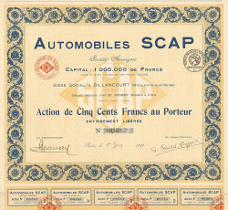 Automobiles SCAP (Société de Construction Automobile Parisienne) -  historic stocks - old certificates Automobiles