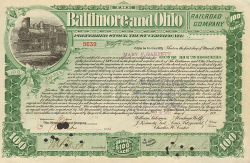 Baltimore and Ohio Railroad Company -  historic stocks - old certificates Railroads