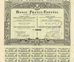 Banco Franco-Espanol -  historic stocks - old certificates Banks and Insurance