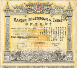 Banque Industrielle de Chine -  historic stocks - old certificates Banks and Insurance