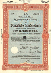 Bayerische Handelsbank (1940 100 Reichsmark) -  historic stocks - old certificates Banks and Insurance