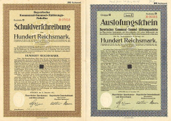 Bayerische Kommunal-Sammel-/Ablösungs-Anleihe (Bayerische Gemeinebank/Bayerischer Sparkassen- und Giroverband) -  historic stocks - old certificates Banks and Insurance